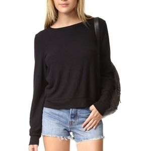 Wildfox Solid Black Baggy Beach Jumper